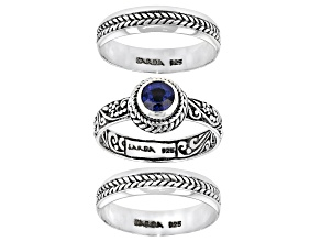 Pre-Owned Blue Kyanite Sterling Silver Stack able Set of 3 Rings 0.55ct
