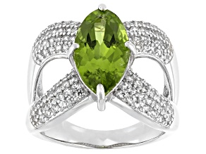 Pre-Owned Green Peridot Rhodium Over Sterling Silver Ring 4.17ctw