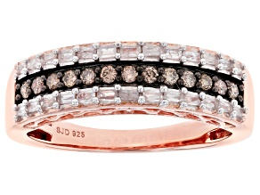 Pre-Owned Champagne And White Diamond 14k Rose Gold Over Sterling Silver Band Ring 0.40ctw