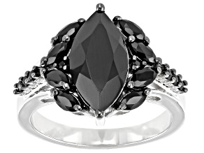 Pre-Owned Marquise and Round Black Spinel Rhodium Over Sterling Silver Ring 3.30ctw