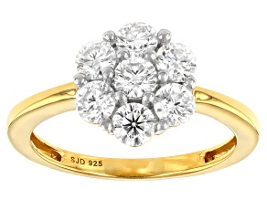 Pre-Owned Moissanite 14k yellow gold over silver ring 1.12ctw DEW.