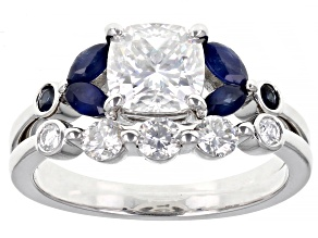 Pre-Owned Moissanite And Blue Sapphire Platineve Ring And Band 1.66ctw DEW.
