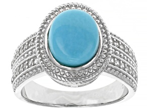 Pre-Owned Blue Turquoise Rhodium Over Sterling Silver Ring 0.30ctw