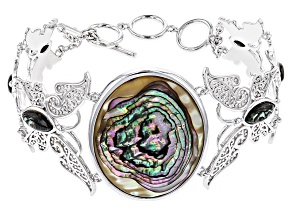 Pre-Owned Multicolor Abalone Shell Sterling Silver Butterfly Bracelet