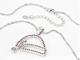 Pre-Owned Red and White Cubic Zirconia Rhodium Over Sterling Silver Santa Hat Pendant With Chain 1.8
