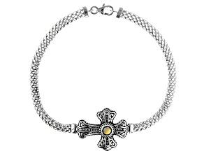 Pre-Owned Rhodium Over Sterling Silver Cross Bracelet