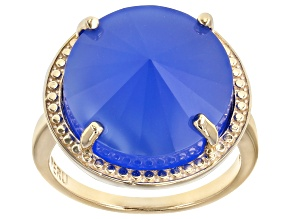 Pre-Owned Blue Chalcedony 10k Yellow Gold Ring
