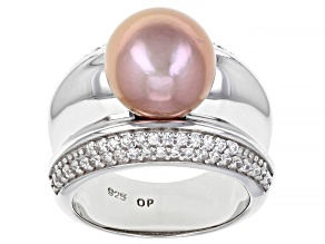 Pre-Owned Pink Cultured Freshwater Pearl & Cubic Zirconia Rhodium Over Sterling Silver Ring