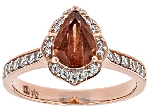 Pre-Owned Orange Oregon Sunstone 10K rose gold Ring.  1.09ctw