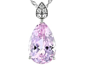 Pre-Owned Pink Kunzite Rhodium Over 14k White Gold Pendant With Chain 3.16ctw