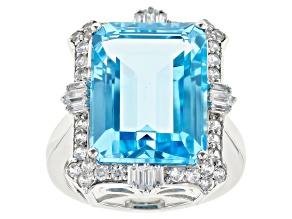 Pre-Owned Sky Blue Topaz Rhodium Over 14k White Gold Ring 13.71ctw