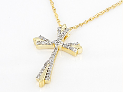 Pre-Owned White Diamond 14k Yellow Gold Over Sterling Silver Cross Pendant With 18 Inch Rope Chain 0