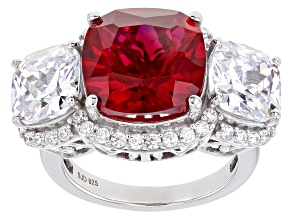 Pre-Owned Lab Created Ruby And White Cubic Zirconia Rhodium Over Sterling Silver Ring 15.92ctw