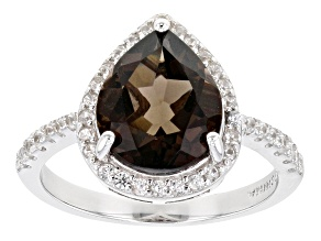 Pre-Owned Smoky Quartz Rhodium Over Sterling Silver Ring 3.13ctw