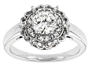 Pre-Owned Fabulite Strontium Titanate and white zircon rhodium over sterling silver ring 1.33ctw.