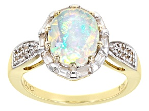 Pre-Owned Multicolor Ethiopian Opal 10k Yellow Gold Ring 2.14ctw