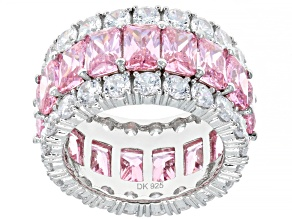 Pre-Owned Pink And White Cubic Zirconia Rhodium Over Sterling Silver Ring 21.53ctw