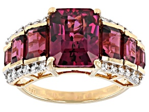 Pre-Owned Rhodolite Garnet And White Diamond 14k Yellow Gold Wide Band Ring 6.03ctw