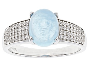 Pre-Owned Blue Aquamarine With Rhodium Over Sterling Silver Ring 0.42ctw