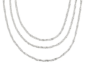 Pre-Owned Sterling Silver Singapore Link Chain Set Of Three 20, 24, 30 inch