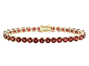 Pre-Owned Red Garnet 14k Yellow Gold Tennis Bracelet 17.67ctw