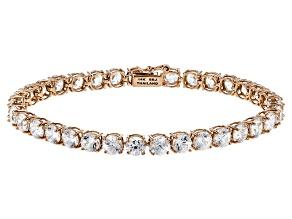 Pre-Owned White Zircon 14k Rose Gold Tennis Bracelet 16.93ctw