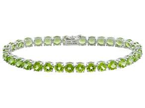 Pre-Owned Green Peridot 14k White Gold Tennis Bracelet 16.83ctw