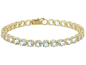 Pre-Owned Blue Aquamarine 14k Yellow Gold Tennis Bracelet 12.62ctw