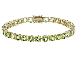 Pre-Owned Green Peridot 14k Yellow Gold Tennis Bracelet 16.83ctw