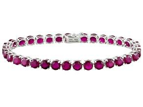 Pre-Owned Red Mahaleo® Ruby 14k White Gold Tennis Bracelet 21.03ctw