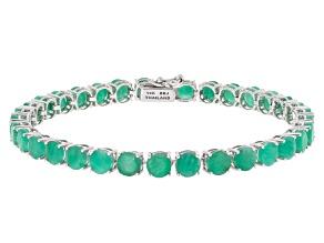 Pre-Owned Green Emerald 14k White Gold Tennis Bracelet 14.02ctw