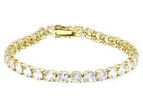 Pre-Owned White Zircon 14k Yellow Gold Tennis Bracelet 16.93ctw