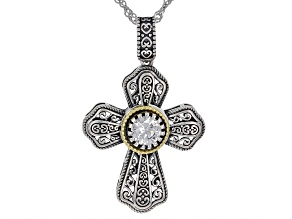 Pre-Owned White Cubic Zirconia Rhodium Over Sterling Silver Cross Pendant With Chain 0.84ctw