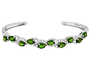 Pre-Owned Chrome Diopside Rhodium Over Sterling Silver Cuff Bracelet