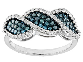 Pre-Owned Blue And White Diamond Rhodium Over Sterling Silver Band Ring 0.90ctw