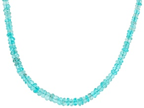 Pre-Owned Sky Blue Apatite Bead Sterling Silver Necklace