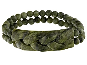 Pre-Owned Green Connemara Marble Stretch Bracelet