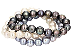 Pre-Owned Multi-Color Cultured Freshwater Pearl Stretch Bracelet Set 10-11m