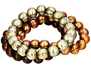 Pre-Owned Multi-Color Cultured Freshwater Pearl Stretch Bracelet Set 10-11mm