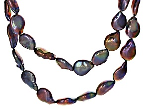 Pre-Owned Black Cultured Freshwater Pearl Rhodium Over Silver Necklace 13-14mm