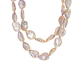 Pre-Owned Pink Cultured Freshwater Pearl Rhodium Over Silver Necklace 13-14mm