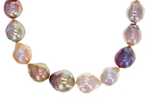 Pre-Owned Multi-Color Cultured Freshwater Pearl Rhodium Over Silver Necklace 11-15mm