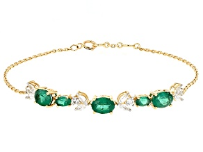 Pre-Owned Green Apatite 10k Yellow Gold Bracelet 3.71ctw
