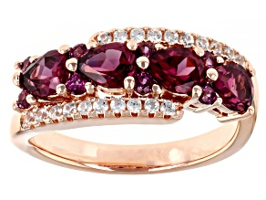 Pre-Owned Purple Rhodolite 18K Rose Gold Over Sterling Silver Ring 1.80ctw