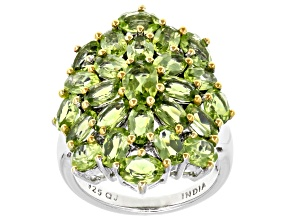 Pre-Owned Green peridot sterling silver and 18k yellow gold over silver ring 6.57ctw