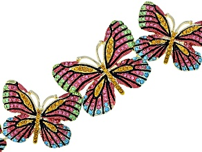 Pre-Owned Multicolor Crystal Gold Tone Butterfly Bracelet
