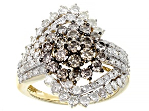 Pre-Owned Champagne And White Diamond 10k Yellow Gold Cocktail Ring 2.29ctw