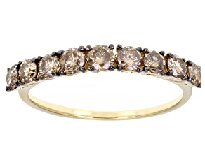 Pre-Owned Champagne Diamond 10k Yellow Gold Band Ring 0.85ctw