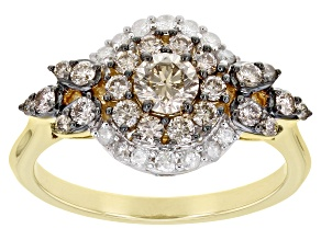 Pre-Owned Champagne And White Diamond 10K Yellow Gold Cluster Ring 1.00ctw