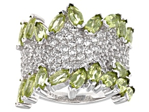 Pre-Owned Green Peridot Sterling Silver Ring 5.40ctw